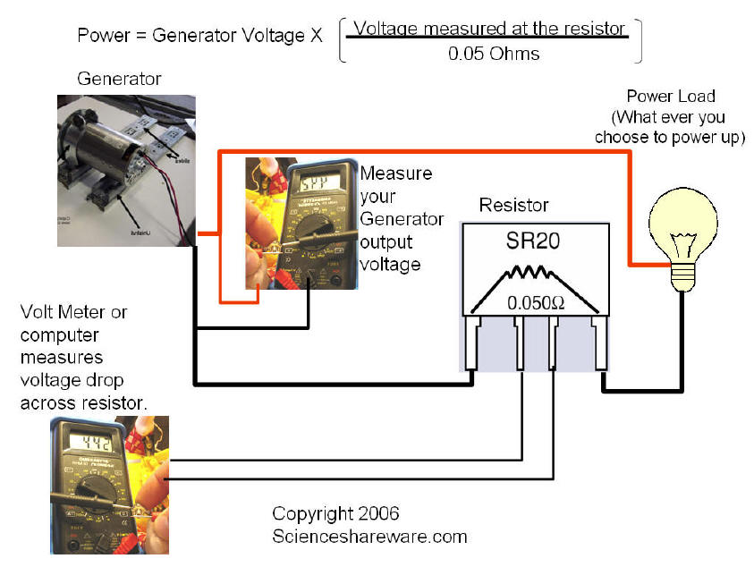 pedal power bicyle generator power calculations using precision resistor