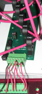 Hall Effect Current sensors mounted on a circuit board to measure pedal power current
